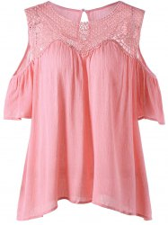 Lace Panel Cold Shoulder Blouse - PINK