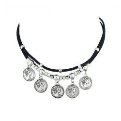 Engraved Queen Coins Beaded Choker Necklace