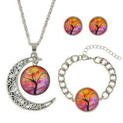 Tree of Life Round Moon Jewelry Set - SILVER