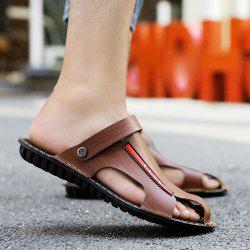 Faux Leather Stitching Sandals - COFFEE