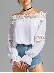Bell Sleeve Off the Shoulder Lace Panel Blouse
