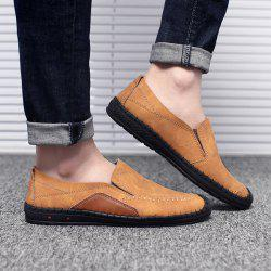 Faux Leather Stitching Slip On Casual Shoes
