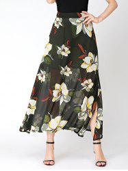Flower Print High Waist Chiffon Slit Skirt
