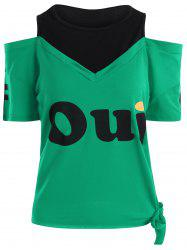 Two Tone Graphic Cold Shoulder Tee