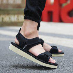 Letter Pattern Stretch Fabric Sandals - BLACK