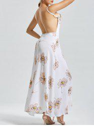 Backless Floral Maxi Long Slip Flowy Dress - Blanc