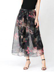Flower Print Chiffon Slit Wide Leg Pants
