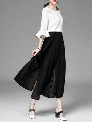 High Slit Chiffon Wide Leg Pants
