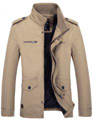 Side Pocket Design Graphic Print Stand Collar Jacket - KHAKI