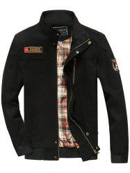 Snap Button Design Patch Embellished Jacket - BLACK