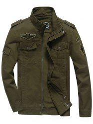 Front Pocket Embroidery Patch Design Jacket - ARMY GREEN