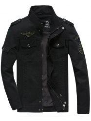 Front Pocket Embroidery Patch Design Jacket - BLACK