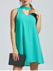 Sleeveless Short Choker Dress - GREEN