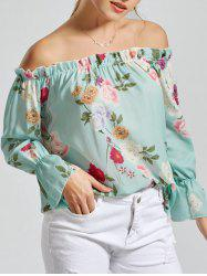 Off The Shoulder Floral Print Chiffon Blouse