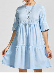Shift Knee Length Smock Flounce Dress