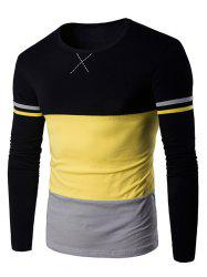 Long Sleeves Color Block T-shirt - YELLOW