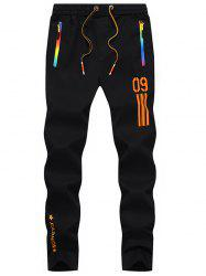 Numéro imprimé Drawstring Beam Feet Sport Pants - Orange 36