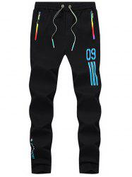 Number Printed Drawstring Beam Feet Sport Pants - BLUE