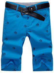 Slim Printed Chino Shorts - BLUE 35