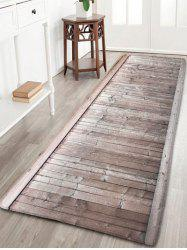 Wood Grain Bathroom Skid Resistant Flannel Rug - LIGHT COFFEE