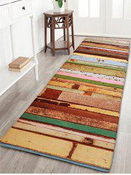 Colorful Wood Grain Print Flannel Bath Mat