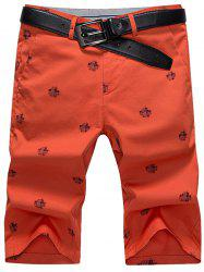 Slim Printed Chino Shorts - RED 31