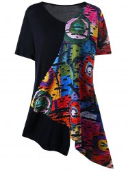 Plus Size Abstract Print Panel Tee