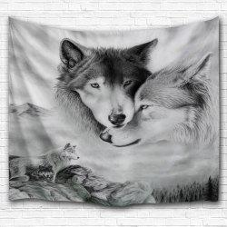 Wolf Printed Wall Hanging Throw Tapestry - GRAY