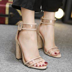 Transparent Plastic Ankle Strap Block Heel Sandals