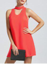 Sleeveless Short Choker Dress - ORANGE RED