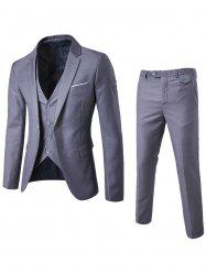 Single Button Blazer and Pants Business Twinset - LIGHT GRAY