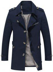 Slim Fit Lapel Button Up Coat - Bleu 4XL