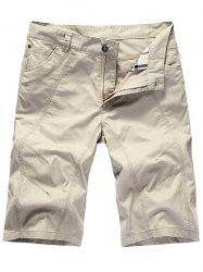 Zipper Fly Casual Slim Chino Shorts - Blanc 35