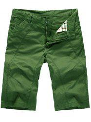 Zipper Fly Casual Slim Chino Shorts - GREEN 35