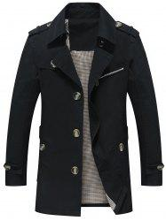 Slim Fit Lapel Button Up Coat - BLACK