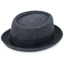 Pinstripe Plaid Ribbon Embellished Pork Pie Hat - BLACK GREY