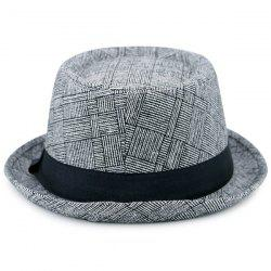 Pinstripe Plaid Ribbon Embellished Pork Pie Hat - BLACK WHITE