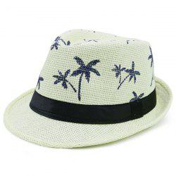 Coconut Tree Pattern Ribbon Embellished Straw Hat