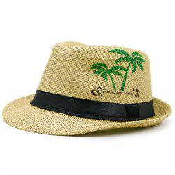 Coconut Tree Letters Printing Ribbon Straw Hat - GINGER