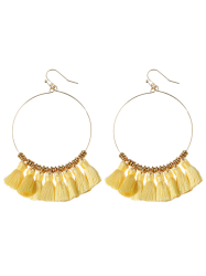 Cicle Tassel Hoop Drop Earrings