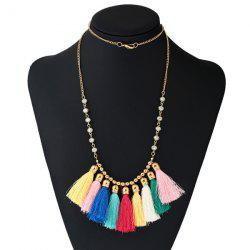 Bohemian Tassel Charm Beaded Necklace - COLORMIX