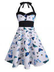 Halter Butterfly Print Vintage Pin Up Dress - BLUE