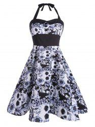 Backless Floral Skull Print Vintage Dress - BLACK
