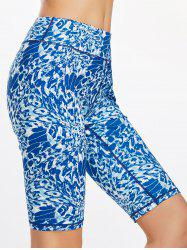 Printed Funny  Bermuda Fitness Leggings - BLUE XL