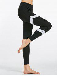 Yoga Zigzag Pattern High Waist  Leggings - BLACK