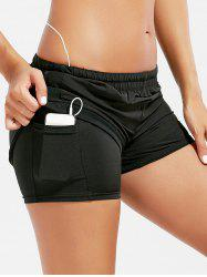 Mesh Panel Elastic Waist Running Shorts - BLACK