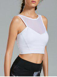 Sheer Mesh Padded Workout Bra Top - WHITE