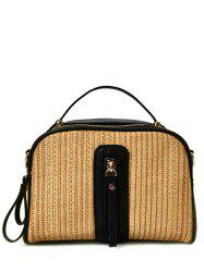 Zippers Top Handle Straw Handbag - BLACK