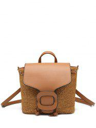 Buckle Strap Straw Weave Backpack -