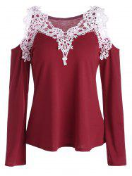 Cold Shoulder Lace Panel Color Block T-Shirt with Long Sleeve - RED